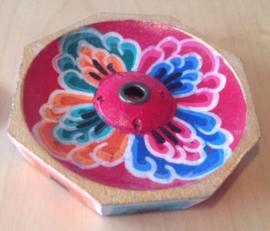 Kleine Achthoekige Houten Tibetaanse Brander (lotus)