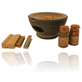 Wierookbrander set zeepsteen Maroque met zeef - grijs - complete set