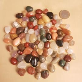 Mix van kleine getrommelde edelstenen (250 gram)