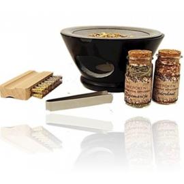 Wierookbrander set zeepsteen Maroque met zeef - zwart - complete set