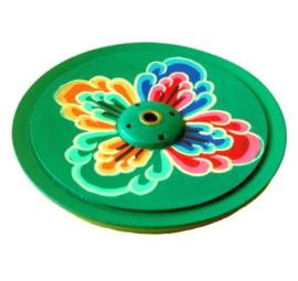 Ronde Houten Tibetaanse houder (Groen met Lotus)