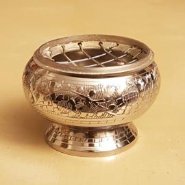 Metalen ronde korrelwierook brander - zilver  - 6cm