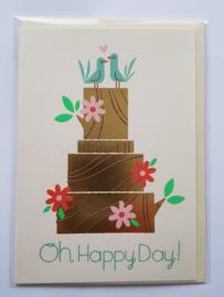 "Kaart, blanco van binnen, incl. enveloppe,  ""Oh Happy Day!"""