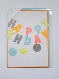 """Kaart met slinger, blanco van binnen, incl. enveloppe, """"Happy Birthday"""""""