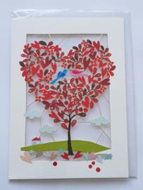 Kaart, blanco van binnen, incl enveloppe, opengesneden met twee verliefde vogels