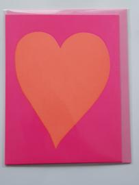 Kaart, blanco van binnen, incl. enveloppe, oranje hart met roze achtergrond