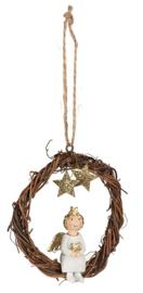 Kerstboomhanger met zittende engel in krans