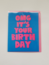 "Kaart, blanco, incl. enveloppe, ""OMG it's your birthday""."