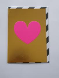 Kaart, blanco van binnen, incl. enveloppe, goud gekleurd met rose hart