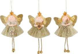 Engel hangers goud kleurig, set 3 stuks