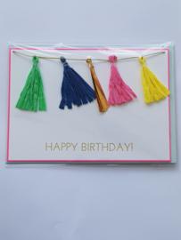 """Kaart, blanco van binnen, incl. enveloppe, met """"happy birthday"""" slinger voorzijde"""