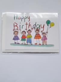 "Kaart, blanco van binnen, incl. enveloppe, ""happy Birthday"""