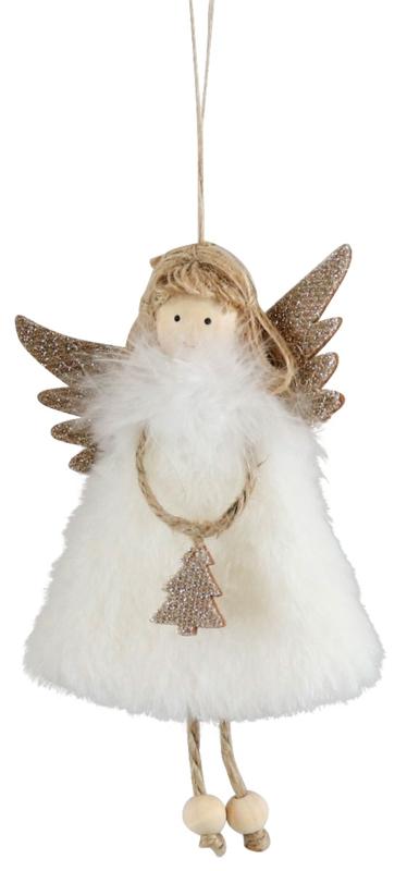 Engel van bont met kerstboom