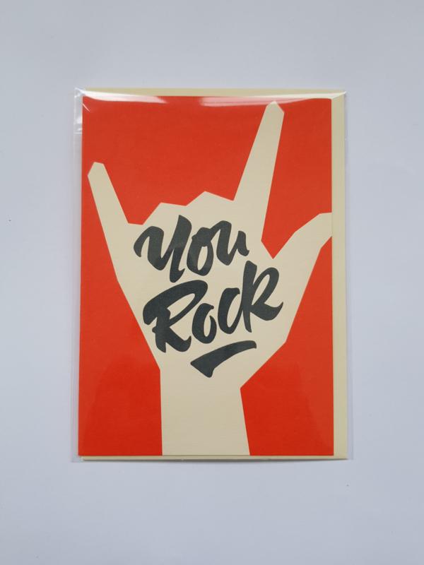 Kaart, You Rock, blanco, incl. enveloppe.