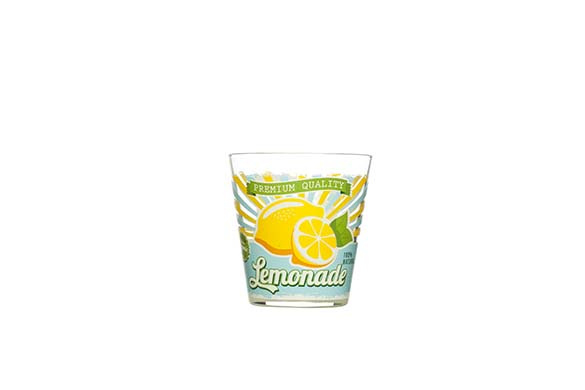 Glas, citroen, voor water, fris en limonade, set van 6
