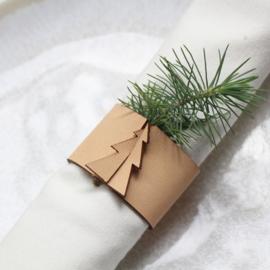 Set servetringen Kerstboom - leer