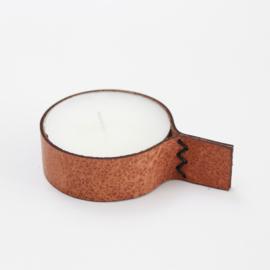 Waxinelichthouder L Leer - Cognac