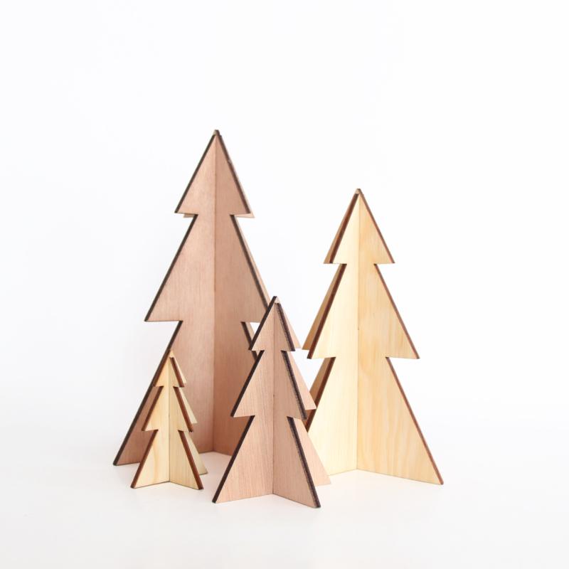Houten Kerstbomen (Set van 4)