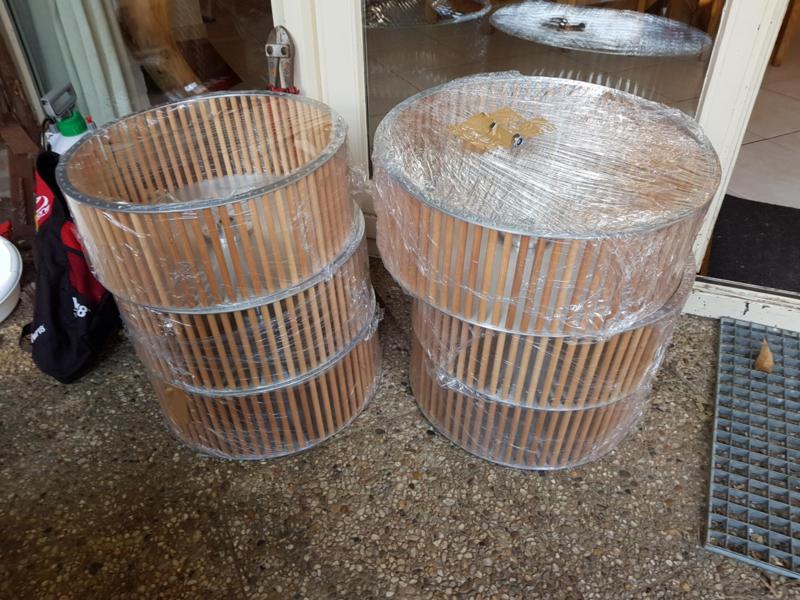 50 cm aluminium met beukenhouten stokken (optie RVS standaard)