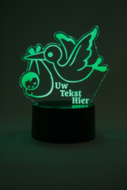 Ooievaar baby met eigen tekst led lamp