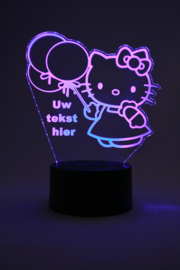 Hello kitty met eigen tekst led lamp