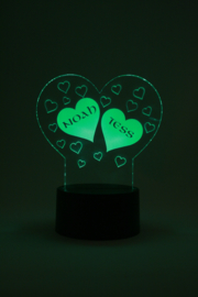 Hart met namen led lamp