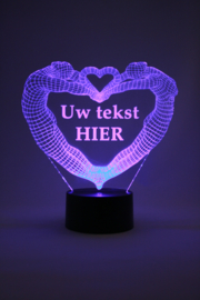 Man & vrouw hart met eigen tekst led lamp