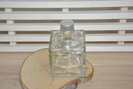 vierkant flesje - large - dop zilver