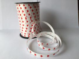 Krullint wit met rode hartjes per 10 meter