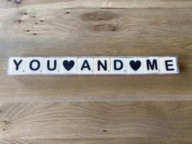 Letterkaarsjes in verpakking: YOU AND ME