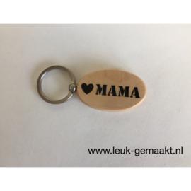 Houten sleutelhanger mama/oma