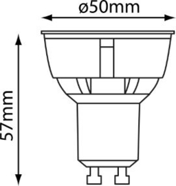 LED GU-10 Zilver 5 Watt COB 2700K 40° Dimbaar