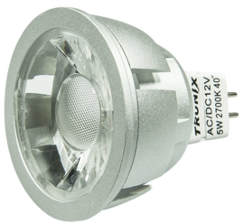LED MR-16 Zilver 5 Watt COB 2700K 40°