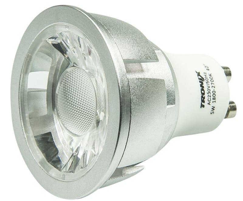 LED GU-10 Zilver 5 Watt COB 1800~2700K Vlamverduistering