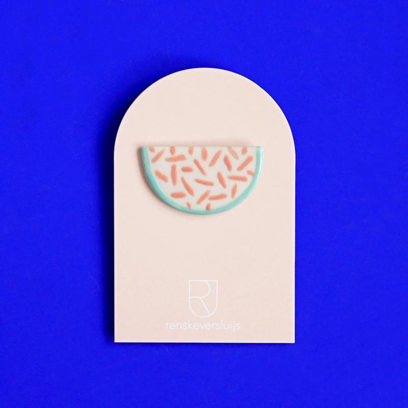 porcelain brooch Melon