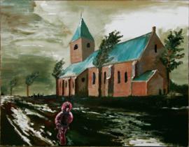 Meisje in roze regenjas bij leegstaande kerk