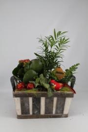 Plantenbakje hout rond rood