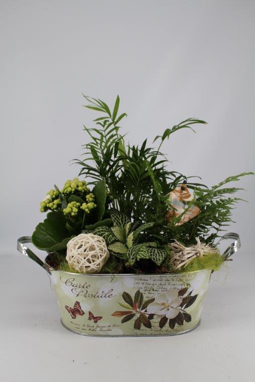 Plantenbakje zink ovaal (groen)