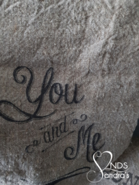 Shabby linnen doek You and Me