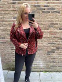 Suedine jasje rood panter