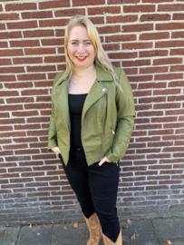 Caremmy groen leatherlook bike jacket