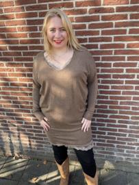 Tweedelige set: tuniek + lang kanten hemd brownie
