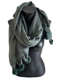Fashion Sjaal met groene pomponnetjes