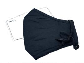 Mondmasker effen zwart voor M/V inclusief 2 filters en aanpasbare oortjes