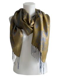 Gouden sjaal met blauw bloem