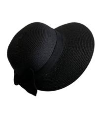 Modieus zomerhoedje zwart met zwarte strik