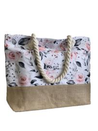 Modieuze beige zomertas met tof design met rozen