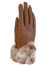 Handschoen rundsleder, brick bruin met imitatiebont