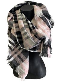Malse, warme lange sjaal met klassiek patroon in zwart, grijs, roze
