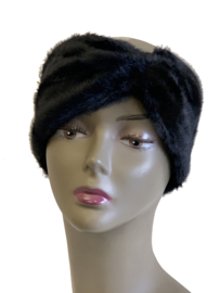 Haarband imitatiebont zwart